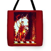 Horse Painting Jumper No Faults Deep Blues And Reds Tote Bag