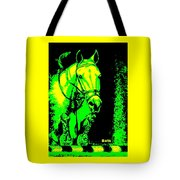 Horse Painting Jumper No Faults Green And Yellow Tote Bag