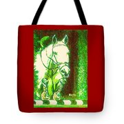 Horse Painting Jumper No Faults Green With Reds Tote Bag