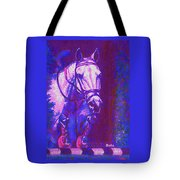 Horse Painting Jumper No Faults Purple And Blue Tote Bag