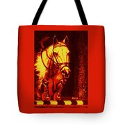Horse Painting Jumper No Faults Reds Tote Bag