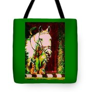 Horse Painting Jumper No Faults Reds Greens Tote Bag