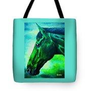 horse portrait PRINCETON blue green Tote Bag