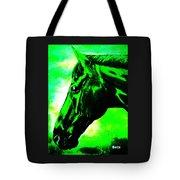 horse portrait PRINCETON green and black Tote Bag
