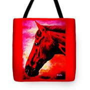 horse portrait PRINCETON red hot Tote Bag