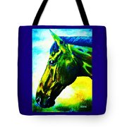 horse portrait PRINCETON vibrant yellow and blue Tote Bag