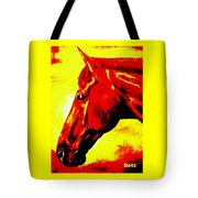 horse portrait PRINCETON yellow and red Tote Bag