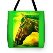 horse portrait PRINCETON yellow green Tote Bag