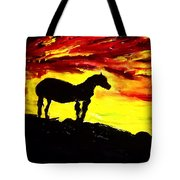 Horse Rider In The Sunset Tote Bag