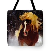 Horse Running In Snow Tote Bag