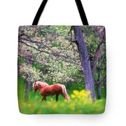 Horse Running In Spring Woods Tote Bag