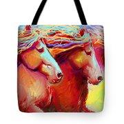 Horse Stampede Painting Tote Bag