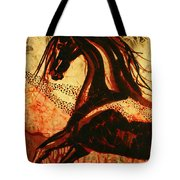 Horse Through Web Of Fire Tote Bag