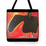 Horse With Crow And Snake At Sunset Tote Bag