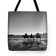 Horseback Storytelling Black And White Tote Bag