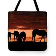 Horses At Sunset Tote Bag