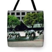 Horses At William Square  Tote Bag