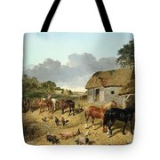 Horses Drinking From A Water Trough, With Pigs And Chickens In A Farmyard Tote Bag