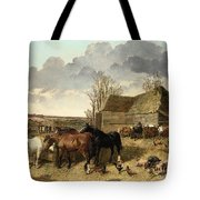 Horses Eating From A Manger, With Pigs And Chickens In A Farmyard Tote Bag