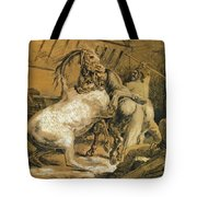 Horses Fighting In A Stable Tote Bag