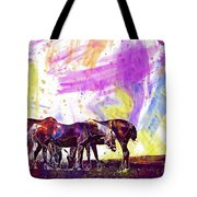 Horses Flock Pasture Animal  Tote Bag