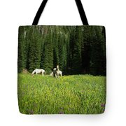 Horses Getting A Break Tote Bag