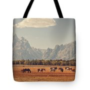 Horses Grazing In Front Of The Teton's Tote Bag