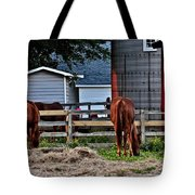 Horses Grazing Tote Bag
