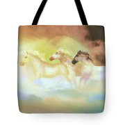 Horses In A Pearly Mist Tote Bag