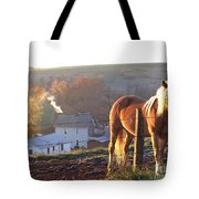 Horses In Autumn Frosty Sunrise Tote Bag