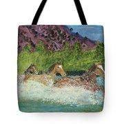 Horses In Stream Tote Bag