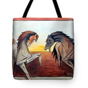 Horses In The Field Tote Bag