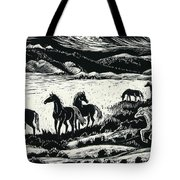 Horses In Winter Tote Bag