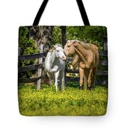 Horses In Yellow Field Tote Bag by Ron Pate
