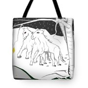 Horses On A Snowy Evening Tote Bag