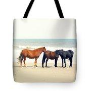Horses On Beach Tote Bag