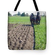 Horses Plowing Rows Two  Tote Bag