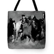 Horses Stampede 01 Tote Bag