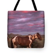 Horses With Southwest Sunset Tote Bag