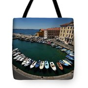 Horseshoe Pattern Of Moored Boats At The Inner Harbour Of Piran  Tote Bag