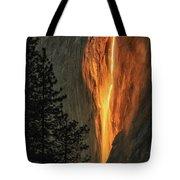 Horsetail Falls In Yosemite National Park Tote Bag