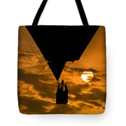 Hot Air Balloon Against Golden Sky Tote Bag
