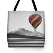 Hot Air Balloon And Longs Peak - Black White And Color Tote Bag