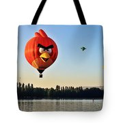 Hot Air Balloon Confronts Stand Up Paddleboarder Tote Bag