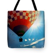 Hot Air Balloon Eclipsing The Sun Tote Bag