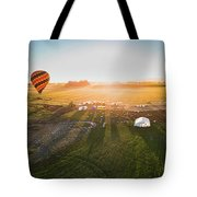 Hot Air Balloon Taking Off At Sunrise Tote Bag