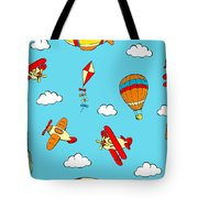Hot Air Balloons And Airplanes Fly In The Sky Tote Bag