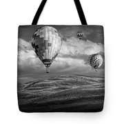 Hot Air Balloons In Black And White Over Fields Tote Bag