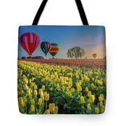 Hot Air Balloons Over Tulip Fields Tote Bag