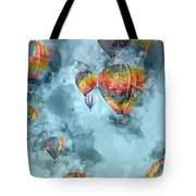 Hot Air Balloons Digital Watercolor On Photograph Tote Bag